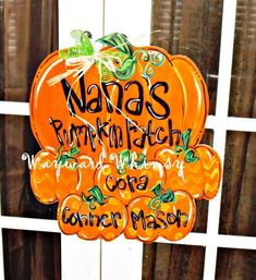 Pumpkin Patch Wood Cut Out Door Hanger by TheWaywardWhimsy
