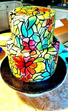 Hand painted stained glass cake I just finished for my sister's graduation. - Imgur