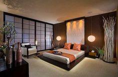 feng shui wohnen, bett, japanisches intereur, schlafzimmer in braun