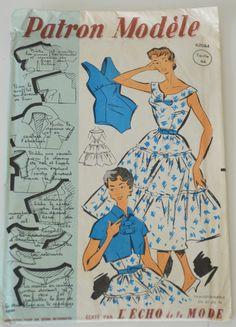 """patron de couture vintage """" Patron Modèle"""" n 62084 ( robe, boléro, maillot de bain ) de la boutique atelierdelachoisille sur Etsy"""