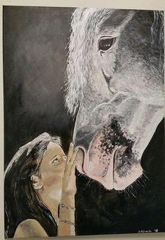"""""""Das Pferdemädchen"""" , Acryl auf Leinwand 50 x70 cm"""