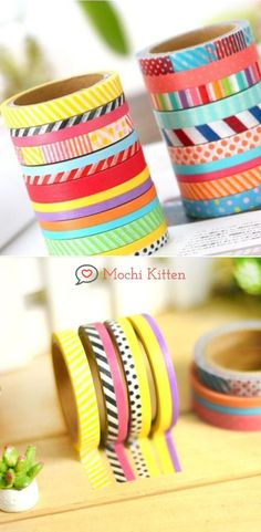 Colorful washi tapes to embellish diaries, handmade greeting cards, bujo, DIY framing and scrapbooking. Washi Tape Crafts, Washi Tape Set, School Accessories, Sticky Notes, Gift Packaging, Greeting Cards Handmade, Mochi, Bujo, Diaries