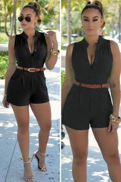 """Simplicity never looked so special. This black, romper will be the workhorse of your summer wardrobe.  Enjoy the attentiona""""you deserve it. Wear with your favorite statement jewelry for a splashy night on the town, or just a simple, delicate bracelet for Black Romper Outfit, Jumpsuit Outfit, Rompers Dressy, Little Presents, Shorts Outfits Women, Cute Summer Outfits, Outfit Summer, Summer Romper, Casual Summer"""