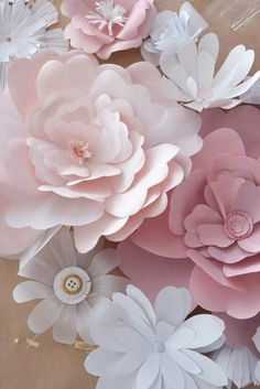 giant paper flowers on the sweetheart table   Crafty Goodness