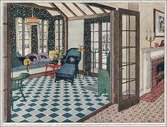 1923 Blabon Art Linoleum Sun Porch by American Vintage Home, via Flickr