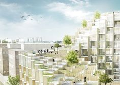 Bjarke Ingels Group has unveiled plans for a foliage-covered terraced block of apartments, which are under construction in Stockholm's Gärdet district