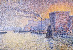 'Factories on the Thames', Oil On Panel by Georges Lemmen (1865-1916, Belgium)
