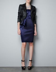 Who says black and navy can't go together? (Pictured: Zara satin dress and leather biker jacket)
