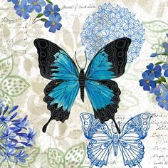 Imprimolandia: Printables in blue Butterfly Painting, Butterfly Wallpaper, Blue Butterfly, Decoupage Vintage, Vintage Paper, Paper Butterflies, Beautiful Butterflies, Butterfly Illustration, Vintage Butterfly