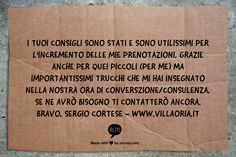 Testimonial per consulenza privata: http://www.siamoalcompleto.it/consulenza-bed-breakfast/