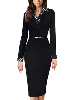Amazon.com: Meikeer Women's Vintage Black Polka Dot Collared Business Party Pencil Dress: Clothing