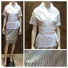 Max Mara SS 2014 Collection: Max Mara white wrap cotton shirt   Max Mara white and grey cotton / viscose pencil skirt, lined with silk and acetate on the inside.  Prices on request.