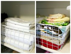 note the  Antonius wire basket from IKEA. They are a shallow, white wire basket at $2.50 a piece shown on IHeart Organizing: Reader Space: A Lovely Multi-Purpose Closet