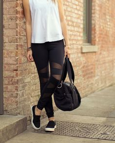 Go for a sporty-chic look by pairing leggings that have mesh panels with slip-on sneakers and a clean white too. So comfy!