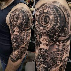 Shoulder tattoo - New Tattoo Models - Shoulder tattoo - Tattoos Bras, Hand Tattoos, Arm Sleeve Tattoos, Tattoo Sleeve Designs, Forearm Tattoo Men, Body Art Tattoos, Biomech Tattoo, Biomechanical Tattoo Design, Cyborg Tattoo