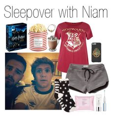 """""""Sleepover with Niam"""" by mona-h0ran ❤ liked on Polyvore featuring Payne, Abercrombie & Fitch, Free Press, The Hampton Popcorn Company, Philips Sonicare, Estée Lauder, harrypotter, legend, neverforget and AlanRickman"""