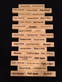 Adult Drinking Game Engraved Phrases Custom - Personalized Wood Jenga like Drinking Game. This adult favorite Jenga drinking game consists of 54 large wood blocks with laser engraved fun phrases that can be customized just for you. The best gift for Drinking Jenga, Drinking Board Games, Adult Drinking Games, Drinking Games For Parties, Adult Games, Outdoor Drinking Games, Drunk Jenga, Drunk Games, Medical Party