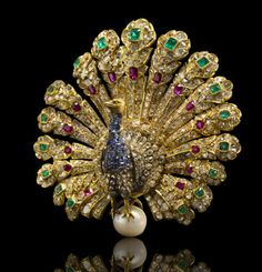 A gem-set and diamond peacock brooch, Gustave Baugrand, circa 1865, spectacular on so many levels~