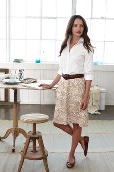 Lands' End Canvas:: Full Skirt on Khaki/White Paisley Print from S/S11