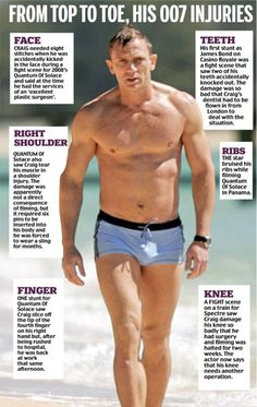 The Bond actor, revealed how he is set to go under the knife yet again because of a knee injury he picked up while filming a fight scene for Spectre with the hulking villain Mr Hinx. Daniel Craig James Bond, Daniel Craig Body, Daniel Craig Workout, James Bond Theme, James Bond Party, James Bond Style, Best Bond, Under The Knife, Le Male