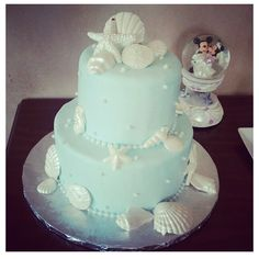 Our Beach Wedding Cheesecake with white chocolate seashells, it was amazing !