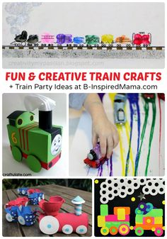Fun & Creative Train Crafts + Train Party Ideas, Too at B-InspiredMama.com #kids #trains #kidscrafts #kbn