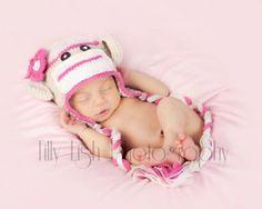 Sock Monkey Knit Crochet Hat Pink and Beige