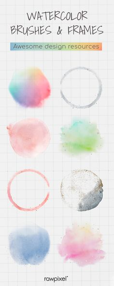 Watercolor Brushes, Design Set, Watercolor Background, Cute Designs, Creative Design, Design Projects, Design Elements, Vector Free, Banner