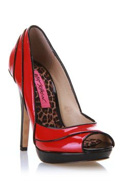 Betsey Johnson Waldorf Peep-Toe Pumps In Fuchsia & Black - Beyond the Rack