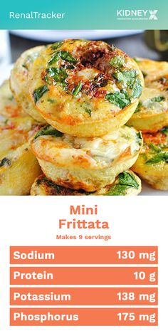Experiment even on the simplest food with this healthy renal diet low-protein mi. - Experiment even on the simplest food with this healthy renal diet low-protein mini frittata recipe. Davita Recipes, Kidney Recipes, Diet Recipes, Healthy Recipes, Smoothie Recipes, Healthy Food, Mini Frittata, Low Potassium Recipes, Low Sodium Recipes