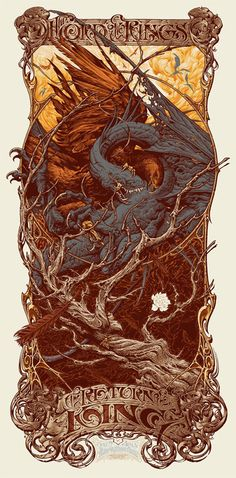 stoneofthehapless:    Poster for The Return of the King; art by Aaron Horkey   Looks like an Eagle fighting one of the Nazgul's fell beasts, just as the Ring is destroyed.     That white flower is such a beautiful detail.