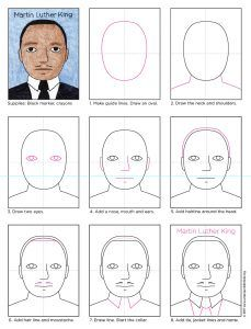How to Draw Martin Luther King - Art Projects for Kids