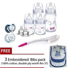 Starter Set with 3 embroidered cotton bibs. #malaysiaonline #mybaby #babylove #instababy #babystuff #babyfeedingset #feedingbaby #babybottle by lovi.malaysia