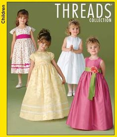 flower girl dress,  white dress with sweetheart neckline (pink dress) and cap sleeves (yellow dress)