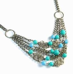 handmade seafoam & aqua necklace