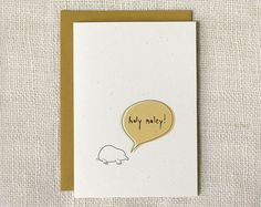 """Front: """"holy moley!""""  Inside: """"congratulations!""""  One 5″ x 7″ folded card printed on 80# speckled recycled cardstock and paired with a dijon yellow envelope."""