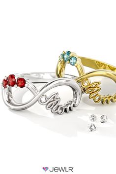 Create the perfect gift for Mother's Day this year! Personalize a stunning Mom Infinity Ring for the amazing mother in your life, with the birthstones of her loved ones, your choice of metal and a special engraving. Free shipping, free resizing and a free bonus gift with every order!