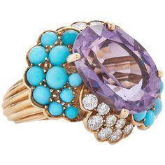 1960's Amethyst Turquoise Diamond Cocktail Ring