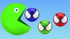 Learn Colors With Pacman and Learn colors Spiderman Soccers Balls Songs Finger Family Nursery Rhymes