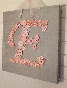 Nursery Button Letter on Canvas, Baby Shower Gift, Kids Room, Door Hanger, Bedroom Decor, Girls Room Picture, Boys Room Picture on Etsy, $35.00