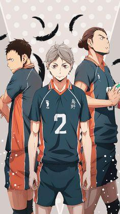 Haikyuu!! | Karasuno | Daichi Sawamura | Sugawara Koushi | Asahi Azumane | Wallpaper