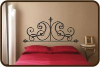 wrought iron inspired vinyl headboard decal wall art over bed example