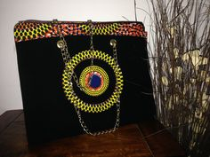 African Ankara Print Shoulder Bag Tote,  Women African Print Handbags ,Women's Handbag,Wax Print Women Hang Bag With Chain Handles by TrybLife on Etsy