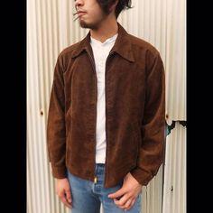 60's Brentwood コーデュロイジャケット サイズM相当 ¥4935  シンプルなスイングトップスタイルですが、コーデュロイの色合いが醸す土臭さが劇渋  #corduroy #jacket #sportswear #60s #vtg #山梨 #古着屋 #nevermind