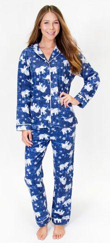 "PJ Salvage Women's Fantastic Flannels ""Batik"" Pajama Set in Navy"