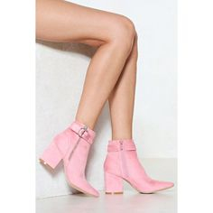 Nasty Gal You Make My Heart Ring Vegan Suede Boot ($36) ❤ liked on Polyvore featuring shoes, boots, pink, zip boots, faux-leather boots, pink suede boots, block heel suede boots and vegan boots