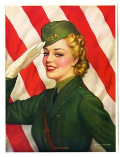 VINTAGE 1940s VICTOR TCHETCHET WORLD WAR II SALUTE TO VICTORY GIRL PIN UP PRINT