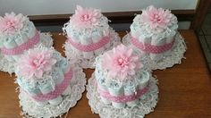 Small diaper cakes for baby girl shower