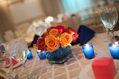 Simple and colorful #rosecenterpiece. Photo by Abbey Domond Photography