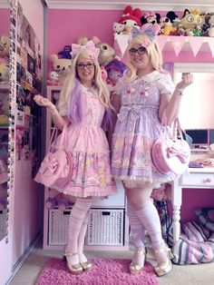 Lolita Twinning Meet | Pink + Lavender Cotton Candy Shop Print By Angelic Pretty - Oh So Kawaii